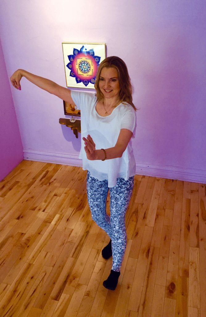 Integral Yoga Institute in New York City, Melissa demonstrates Tai Chi Walking. KiraGrace Yoga Leggings.